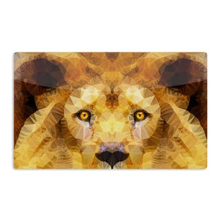 KESS InHouse Ancello 'Lion King' Yellow Brown Artistic Aluminum Magnet