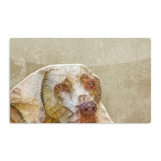 KESS InHouse Ancello 'Abstract Dog' Brown Geometric Artistic Aluminum Magnet