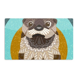 KESS InHouse Art Love Passion 'Otter in Water' Blue Brown Artistic Aluminum Magnet