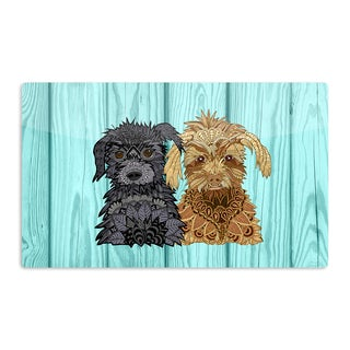 KESS InHouse Art Love Passion 'Daisy and Gatsby' Abstract Puppies Artistic Aluminum Magnet