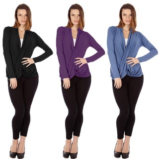 Dinamit Women's Multicolor Cris Cross Draped Sweaters (Pack of 3)