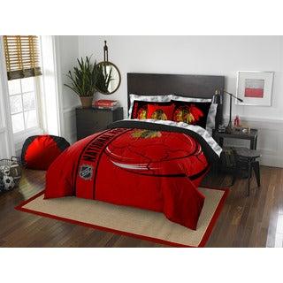 NHL 846 Blackhawks Full 7-piece Bed in a Bag with Sheet Set