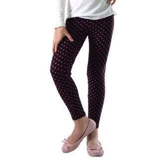 Dinamit Girls' Red/Black Nylon and Spandex Polka Dot Legging