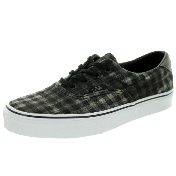Vans Unisex Era 59 Black Canvas Distressed Plaid Skate Shoes