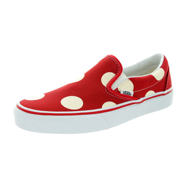 Vans Unisex Classic Slip-on Polka Dots Formula One Red/White Canvas Skate Shoes