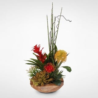 Floral Succulents in Wooden Bowl