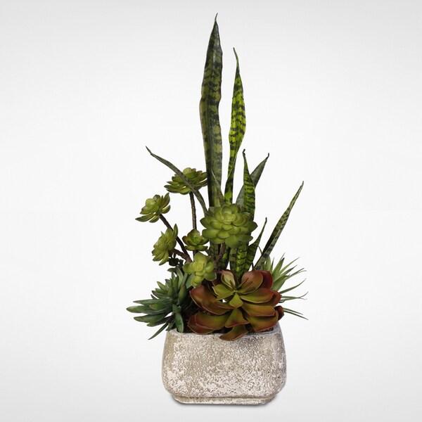Artificial Succulent Arrangement in Concrete Pot