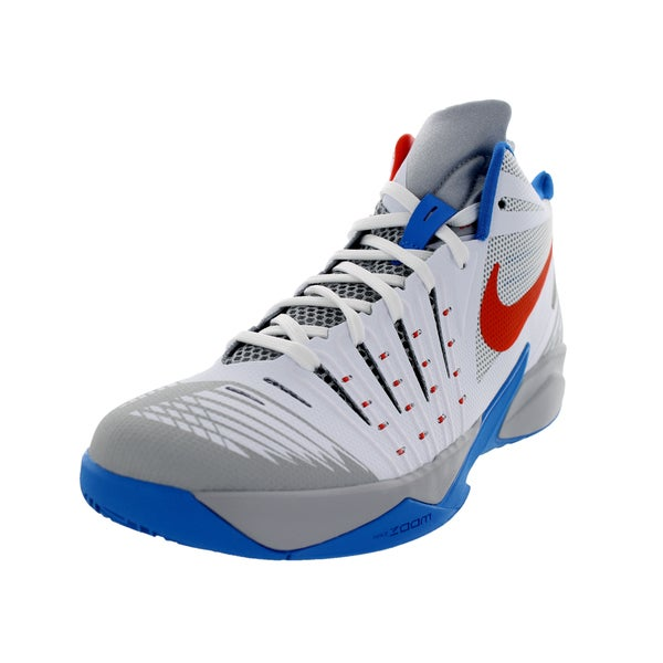 Nike Men's Zoom I Get Buckets White/Team Orange/Wolf Grey Basketball Shoes