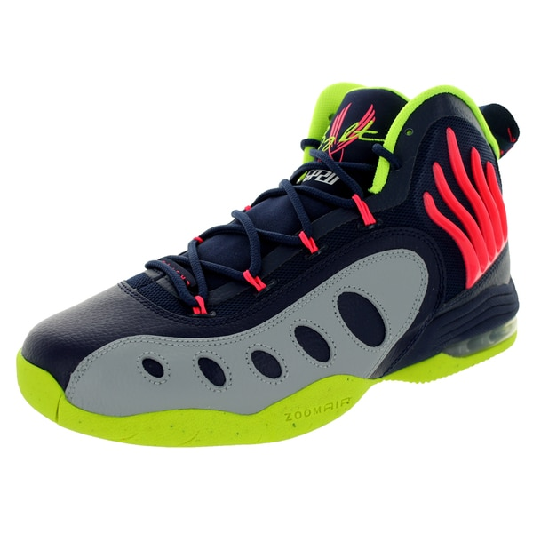 Nike Men's Sonic Flight Mid Navy/Light Magenta/Grey/Green Leather and Synthetic Basketball Shoe