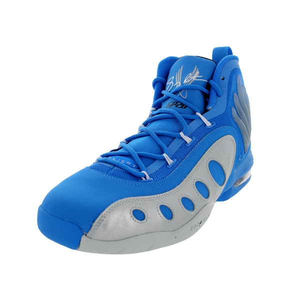 Nike Men's Sonic Flight Electric Blue, White, and Black Synthetic Basketball Shoe