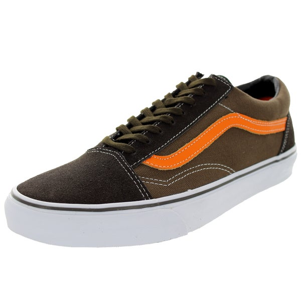 Vans Unisex Old Skool Brown/Olive/Orange Canvas Skate Shoes