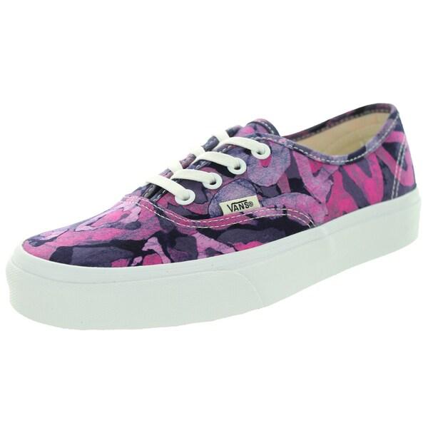 Vans Unisex Authentic Batik/Pink Canvas Skate Shoe (Size 9)