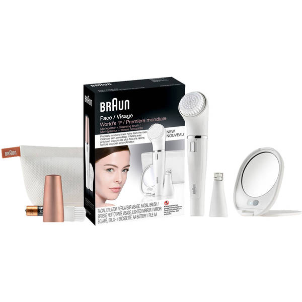 Braun Facial Epilator Set with 4 Facial Brushes, Lighted Mirror, and Facial Wipes