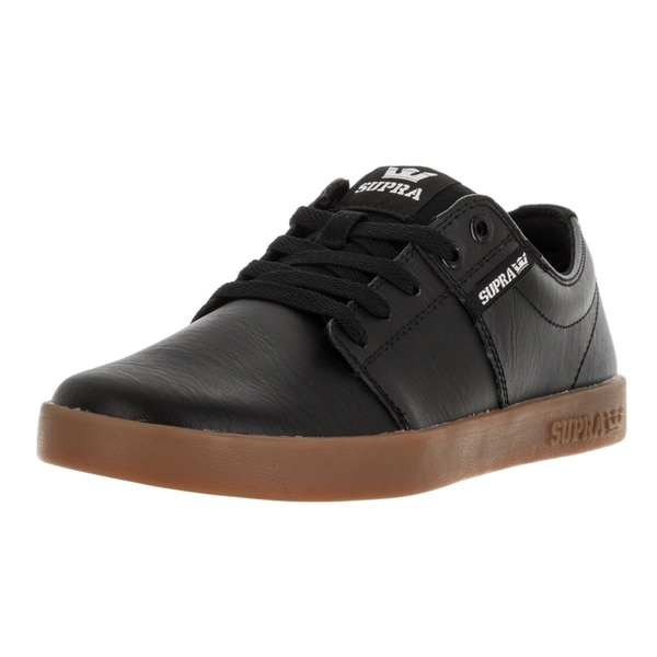 Supra Men's Stacks Black Leather Skate Shoes