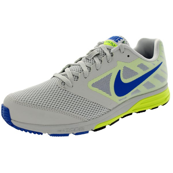 Nike Men's Zoom Fly Light Ash Grey/Cobalt/Volt Mesh Running Shoes