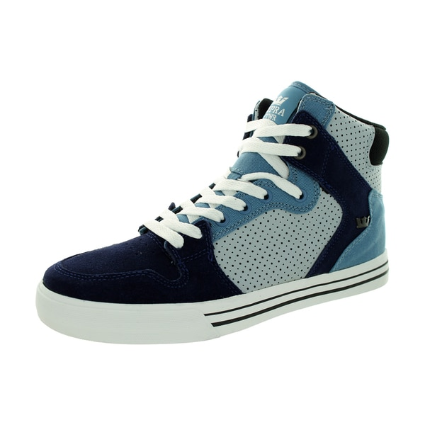 Supra Men's Vaider Slate Blue/Navy/White Suede Skate Shoe