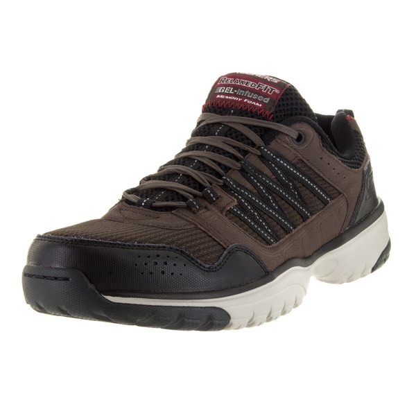 Skechers Men's Vantage Point-Tran Brown/Black Leather Lifestyle Shoe