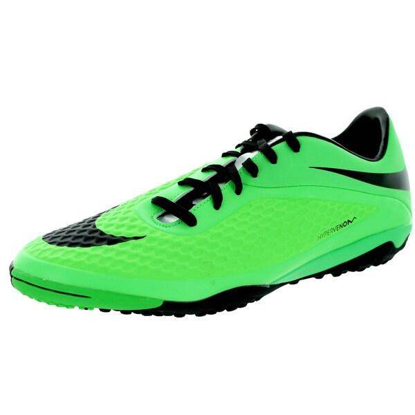 Nike Men's Hypervenom Phelon Lime, Black and Metallic Silver Synthetic Turf Soccer Shoe