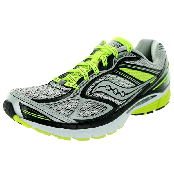 Saucony Men's Guide 7 White/Black/Grey/Green Synthetic Running Shoe