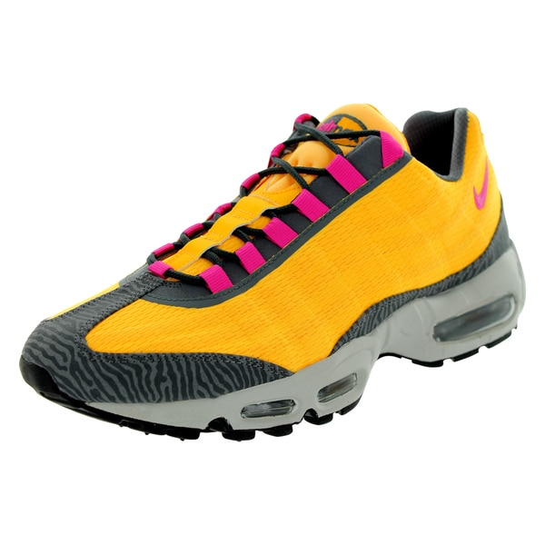 Nike Men's Air Max 95 Orange, Pink, and Dark Grey Running Shoes