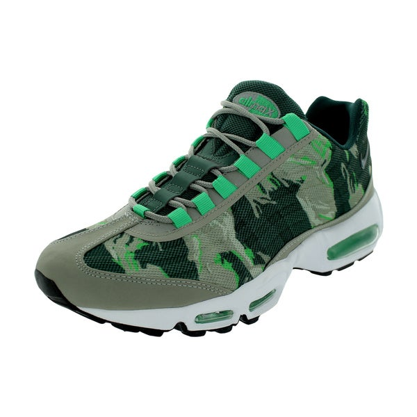 Nike Men's Air Max 95 PRM Tape Mine Grey/Gamma Green/White Mesh Running Shoe