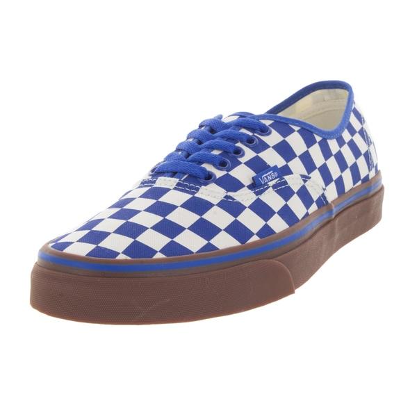 Vans Authentic Unisex Blue/White Canvas Checkerboard Gum Skate Shoes