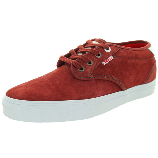 Vans Men's Chima Estate Pro Real Skateboards Red Suede Sable Skate Shoes