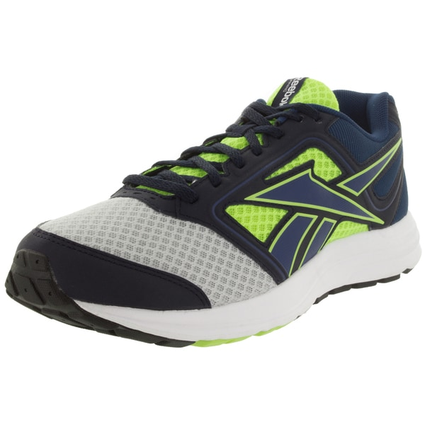 Reebok Men's Zone Cushrun Silver, Yellow, and Blue Mesh Running Shoe