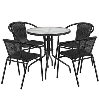 28-inch Round Glass Metal Table with Rattan Edging and 4 Rattan Stack Chairs