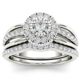 De Couer 14k White Gold 3/4ct TDW Diamond Halo Bridal Set (H-I,I2)