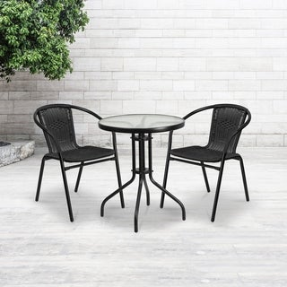 23.75-inch Round Glass Metal Table with 2 Rattan Stack Chairs