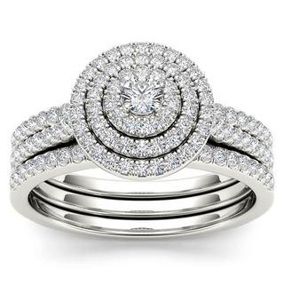De Couer 14k White Gold 5/8ct TDW Diamond Halo Bridal Set (H-I,I2)