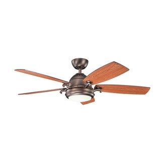 Kichler Lighting Clayton Collection 52-inch Oil Brushed Bronze Ceiling Fan w/ LED Light