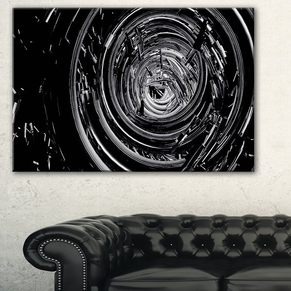 Fractal 3D Black Whirlwind - Abstract Art Canvas Print