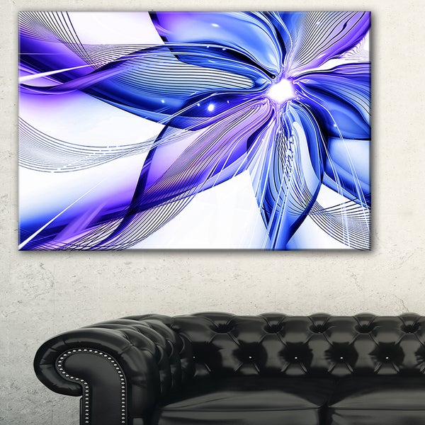 Fractal Bright Blue Flower - Floral Art Canvas Print