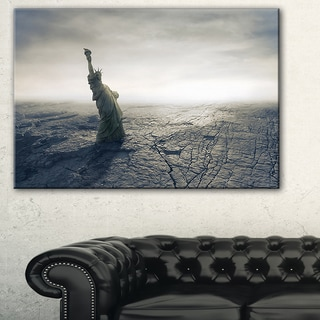 Statue of Liberty in Dried Field - Landscape Photo Canvas Print
