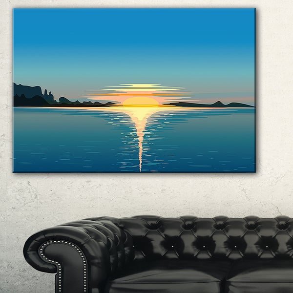 Sea Sinking Sun - Seascape Art Canvas Print