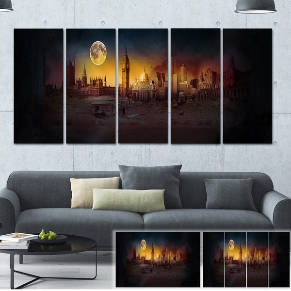 Mysterious Apocalyptic City - Landscape Art Canvas Print