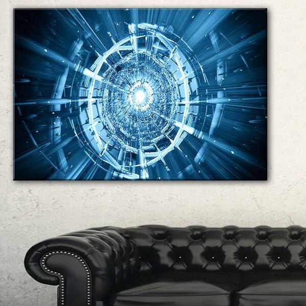Fractal 3D Deep Blue Spiral - Abstract Art Canvas Print