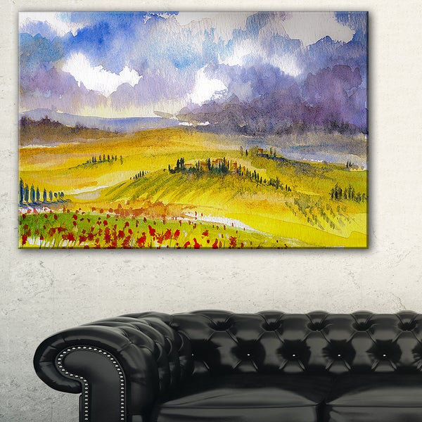 Beautiful Tuscan Hills Italy - Landscape Painting Canvas Print