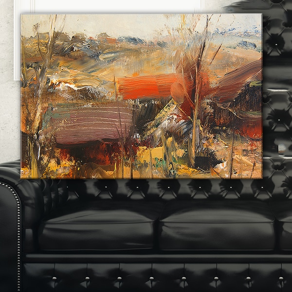 Brown Roofs Heavily Textured - Landscape Painting Canvas Art Print