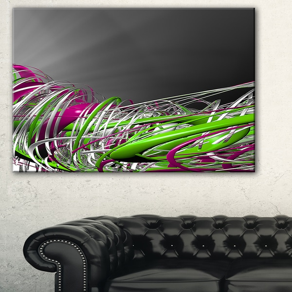 Fractal 3D Green Purple Stripes - Abstract Art Canvas Print