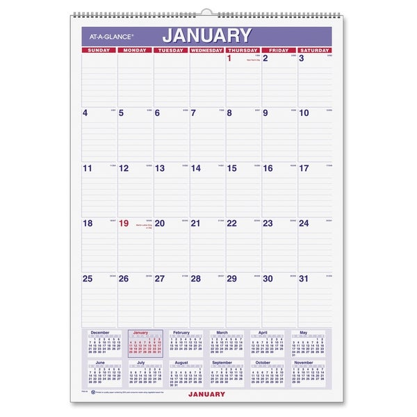 At-A-Glance Recycled Monthly Wall Calendar - Cream