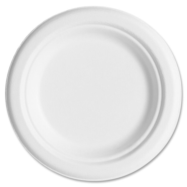"Eco-Products Sugarcane Plates, 6"", 20PK/CT, White - White (50/Carton)"