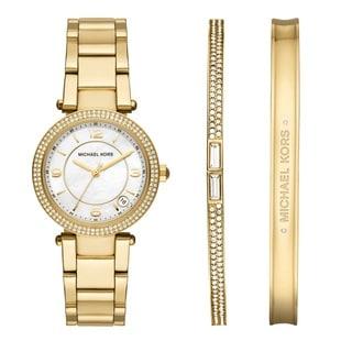 Michael Kors Ladies' MK3505 Delray White Dial Goldtone Watch Set