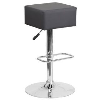 Contemporary Vinyl Adjustable Height Barstool with Chrome Base