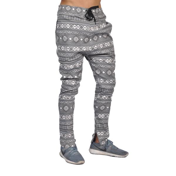 Dirty Robbers Men's Grey Tribal-print Cotton/Spandex Activewear Pants 19435197