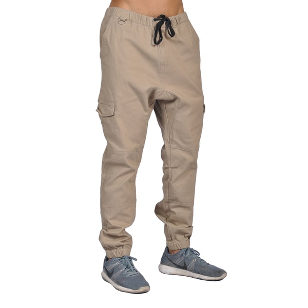 Dirty Robbers Men's Khaki Cotton/Spandex 6-pocket Joggers
