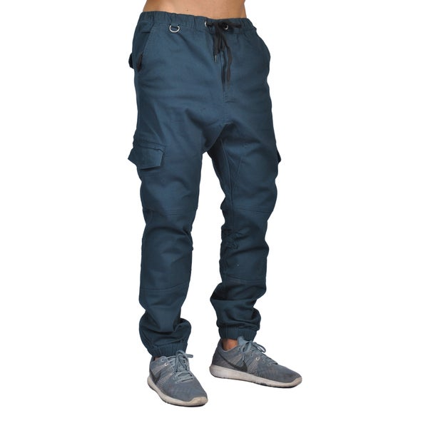 Dirty Robbers Navy Blue Cotton/Spandex 6-Pocket Active-wear Pants