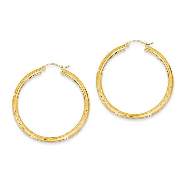 Versil 14k Yellow Gold Diamond-cut 3mm Round Hoop Earrings